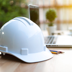 Hard hat and computer